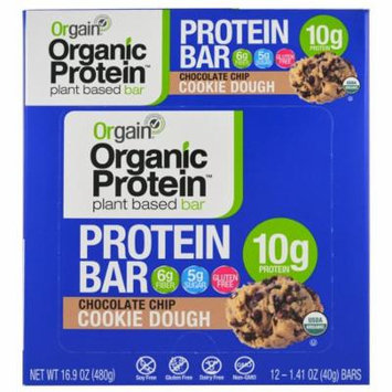 Orgain, Organic Plant-Based Protein Bar, Chocolate Chip Cookie Dough, 12 Bars, 1.41 oz (40 g) Each(pack of 1)