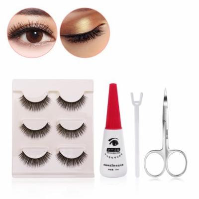 FRCOLOR Fake Eyelashes Hand-made False Lashes Extension & False Eyelashes Clip Scissors and Glue for Makeup