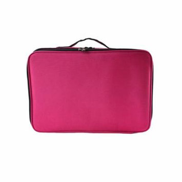 Portable Waterproof Professional Travel Makeup Bag Cosmetic Artist Organizer Case 3 Layer Large Size with Adjustable Shoulder Straps for Makeup Brush Set Hair Style Nail Beauty Tool (Rose Red)