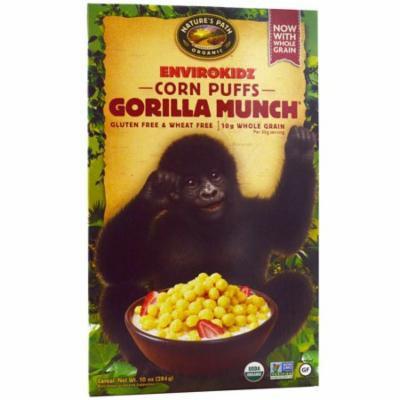 Nature's Path, EnviroKidz, Organic Corn Puffs Gorilla Munch Cereal, 10 oz (pack of 3)