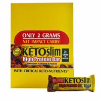 Nature's Plus, Ketoslim, High Protein Bar, Chocolate Almond Crunch, 12 Bars, 2.1 oz (60 g) Each(pack of 2)