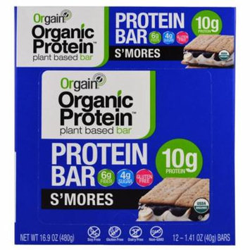 Orgain, Organic Plant-Based Protein Bar, S'mores, 12 Bars, 1.41 oz (40 g) Each(pack of 3)
