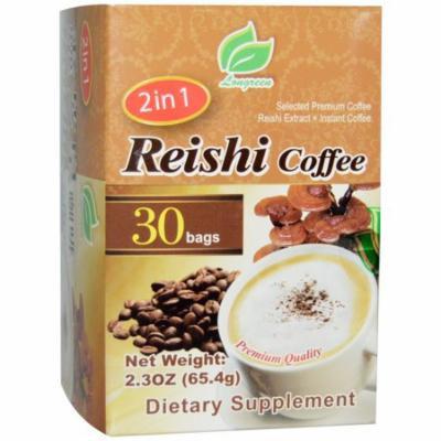 Longreen Corporation, 2 in 1 Reishi Coffee, Reishi Mushroom & Columbian Coffee, 30 Bags, 2.3 oz (65.4 g) Each(pack of 2)