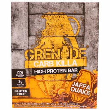 Grenade, Carb Killa, High Protein Bar, Jaffa Quake Chocolate Orange, 12 Bars, 2.12 oz (60 g) Each(pack of 4)