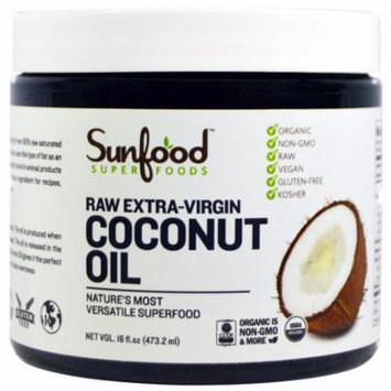 Sunfood, Coconut Oil, Raw Extra-Virgin, 16 fl oz (pack of 2)