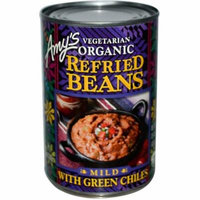 Amy's, Vegetarian Organic Refried Beans with Green Chiles, Mild, 15.4 oz (pack of 6)