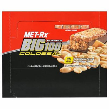 MET-Rx, Big 100 Colossal, Meal Replacement Bar, Peanut Butter Caramel Crunch, 9 Bars, 3.52 oz (100 g) Each(pack of 1)
