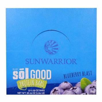 Sunwarrior, Organic Sol Good Protein Bars, Blueberry Blast, 12 Bars, 2.19 oz Each(pack of 1)