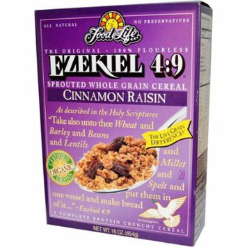 Food For Life, Ezekiel 4:9, Sprouted Whole Grain Cereal, Cinnamon Raisin, 16 oz (pack of 4)