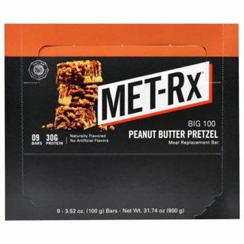 MET-Rx, Big 100, Meal Replacement Bar, Peanut Butter Pretzel, 9 Bars, 3.52 oz (100 g) Each(pack of 3)