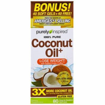 Purely Inspired, Coconut Oil+, 80 Easy-to-Swallow Soft Gels(pack of 1)