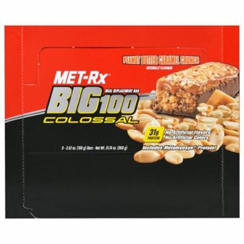 MET-Rx, Big 100 Colossal, Meal Replacement Bar, Peanut Butter Caramel Crunch, 9 Bars, 3.52 oz (100 g) Each(pack of 2)