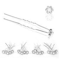 DierCosy 20 Pack Wedding Bridal White Pearl Flower Crystal Hair Pins Clips Grips