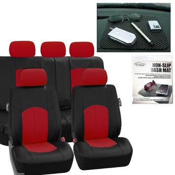 Faux Leather Car Seat Covers Sport line Set Red Free Gift Dash Grip Pad