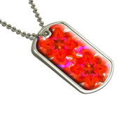 Kaleidoscope Orange Red - Pretty Pattern Military Dog Tag Luggage Keychain