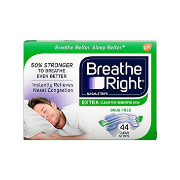Breathe Right Extra Clear Drug-Free Nasal Strips for Nasal Congestion Relief, 44 Count [Congestion Relief Extra Clear]
