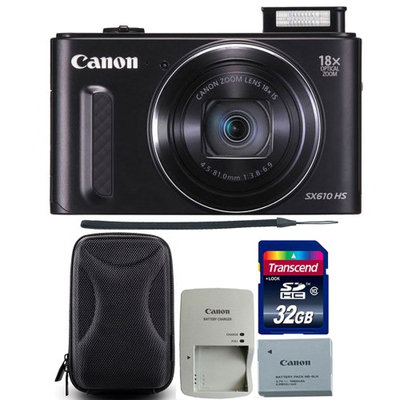 Canon PowerShot SX610 HS 20.2MP 18x Optical Zoom Wifi Digital Camera Black with 32GB Memory Card and Camera Case