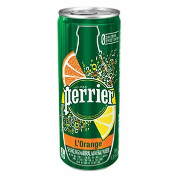 Perrier L'Orange Sparkling Natural Mineral Water 330 ml Slim Cans - Pack of 24