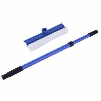 Cleaning Brush Double Faced Wipe Glass Cleaner Thick Wipe Window Cleaner Handle Adjustable Windshield Window Glass Wash Cleaner Brush, Blue