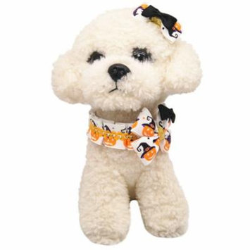 Christams Dog Collar, Legendog Halloween Party Dressing Up Easy-On Pumpkin Printed Bowknot Pet Collar with Dog Hair Clip for Dogs Cats Pet Outfit