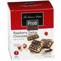 PROTIDIET - High Protein Diet Bar  Raspberry Dark Chocolate Square  Low Calorie, Low Sugar, Cholesterol Free (7/Box)