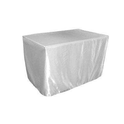 LA Linen TCbridal-fit-48x30x30-WhiteB11 Fitted Bridal Satin Tablecloth White - 48 x 30 x 30 in.