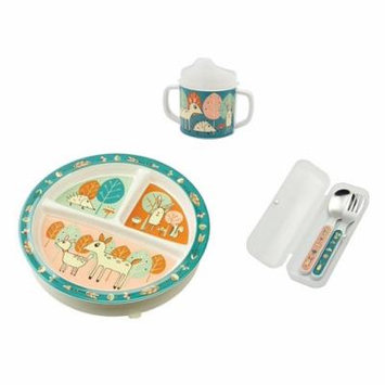 Divided Plate, Sippy Cup, and Silverware Set, Little Deer, 3 section divided comes with removable suction base By SUGARBOOGER