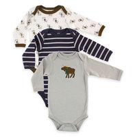 BabyVision® Hudson Baby® 3-Pack Moose Long Sleeve Bodysuits in Grey