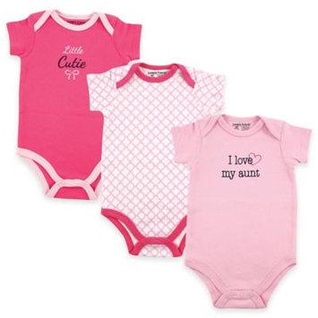 Luvable Friends Newborn Baby Girls Bodysuit 3-Pack, Girl Aunt