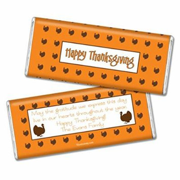Thanksgiving Personalized Chocolate Bar (Fully Assembled) Happy Turkeys (36 Count) Orange