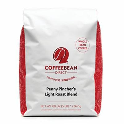 Coffee Bean Direct Penny Pincher's Light Roast Blend Coffee, Whole Bean, 5 Pound