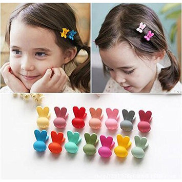 20pcs Girls Rabbit Ears Shaped Mini Hair Claws Clips Clamps Hair Pin Hair Bangs Hair Barrettes for Little Girls Kids Toddlers Random Assorted Colored