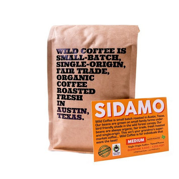 Wild Coffee, Whole Bean Organic Coffee, Fair Trade, Single-Origin, 100% Arabica, Austin Fresh Roasted (Sidamo Medium Roast, 12 ounce)