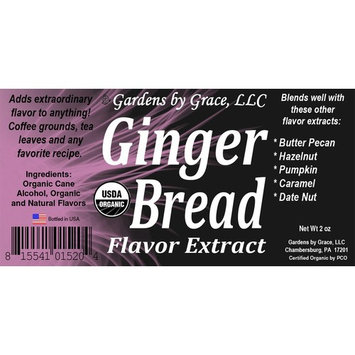Organic Flavor Extract Gingerbread   Use in Gourmet Snacks, Candy, Beverages, Baking, Ice Cream, Frosting, Syrup and More   GMO-Free, Vegan, Gluten-Free, 2 oz