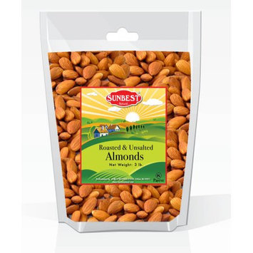 SunBest Almonds Roasted & UNSalted in Resealable Bag (Almonds, 3 Lb)