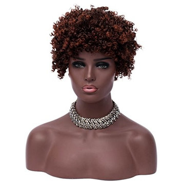 Alacos Afro Kinky Wig 25CM Short Curly Unisex Costumes Pixie Wigs with Bangs for Black Women +Free Wig Cap