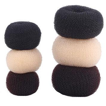 Hair Bun Shaper Set, 6 Pcs Donut Bun Maker Hair Ring Fun Styler Hair Sponge Easy to Use-Black,Coffee and Beige