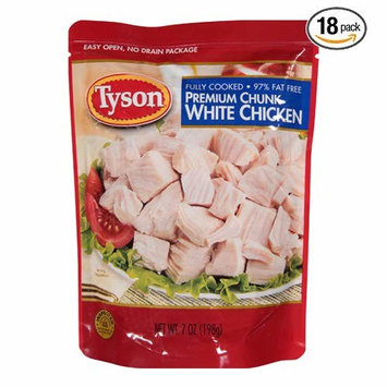 Tyson, Premium Chunk White Chicken, Fully Cooked, 97% Fat Free, 7oz Pouch - Pack of 18