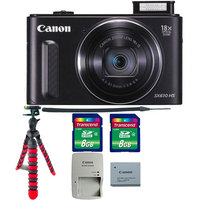 Canon PowerShot SX610 HS 20.2MP 18x Optical Zoom Wifi Digital Camera with Tripod & 16GB Memory Card Black