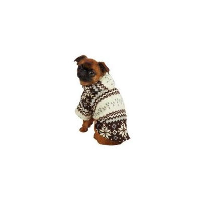 Casual Canine Snowdrift Cuddler Hoodie Brown, Small/Medium