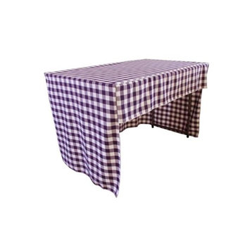 LA Linen TCcheck-OB-fit-72x30x30-PurpleK23 Open Back Fitted Checkered Classroom Tablecloth White & Purple - 72 x 30 x 30 in.