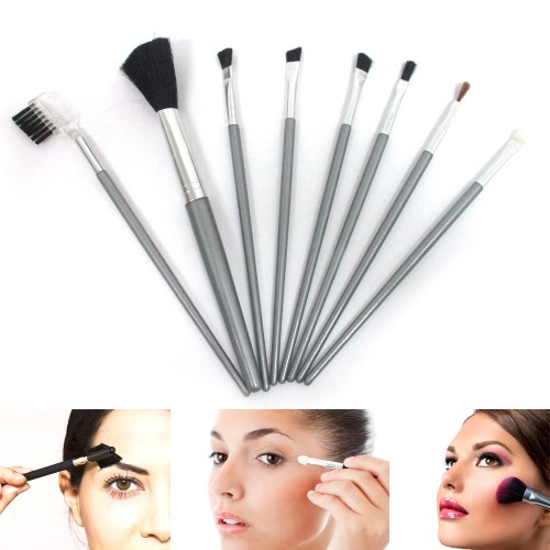 Atb 8 Pcs Cosmetic Tool Kit Eyebrow Eyeshadow Lip Professional Makeup Brushes Set!