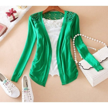 Hot Women Sweet Lace Candy Crochet Knit Blouse Top Coat Cardigan Shirt Sweater Z (Free Size, Green)