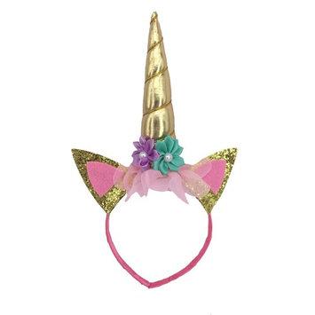 Gold Unicorn Headband By Party Now, Birthday Decoration Headbands, Flowers Prop For Princess Fantasy Dress Up, Cosplay Horn, Halloween Animal Ears Costume, Unicorn Headband Adult