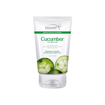Funat Cucumber with Chamomille Face Liquid Soap Hypoallergenic Organic Gel Facial Acne Foam Cleanser Moisturizer Oily Skin Paraben-Free 5.2 Oz-150 g