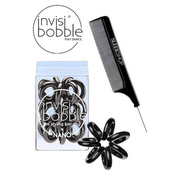 Invisibobble NANO BLACK The Styling Hair Ring (3 rings), (with Sleek Steel Pin Tail Comb) (NANO, BLACK)