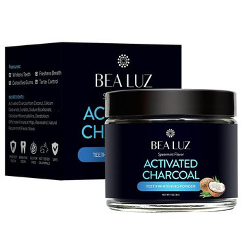 Bea Luz Teeth Whitening Activated Charcoal Powder - From Organic Coconut Shell and Food Grade Formula - All Natural Spearmint Flavor Tooth Whitener (30g)