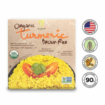 Healthee Organic Brown Rice, Gluten Free, Fully Cooked and Ready-to-Eat, USDA Certified Organic, GMO-Free, Microwaveable (Turmeric, Pack of 4)