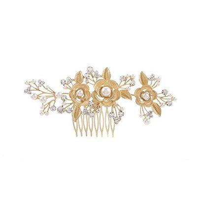 Frcolor Women Hair Comb Bridal Wedding Flower Pearl Rhinestone Headpiece (G
