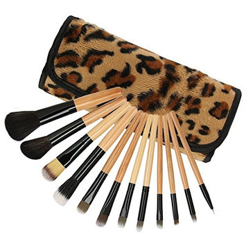 Wispun 12 Cosmetic Brush Set - Makeup Brush Set Foundation Cosmetic Brushes Beauty Tools with Leopard cosmetic bag